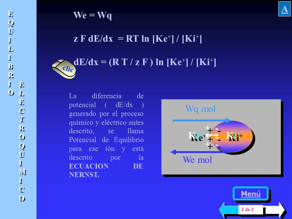 z F dE/dx = RT ln [Ke+] / [Ki+] dE/dx = (R T / z F ) ln [Ke+] / [Ki+]
